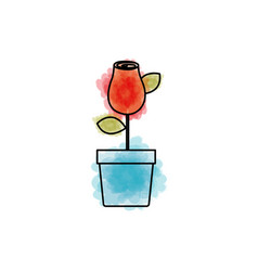 watercolor drawing of red rosebud with leaves and vector image