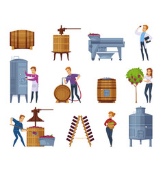 Wine production cartoon icons set vector