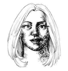Woman portrait flowers decoration sketch vector image