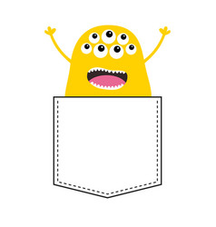 Yellow screaming monster silhouette in the pocket vector