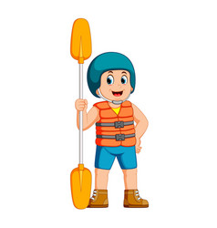 young man with paddle and a safety vest vector image