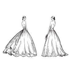young women wearing wedding dresses bridal look vector image
