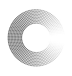 abstract ring of black dots halftone effect with vector image