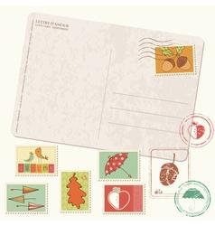 autumn postcard set vector image