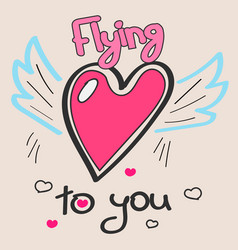 doodle hearts with wings and text vector image