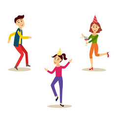 flat girl and men dancing at party vector image vector image