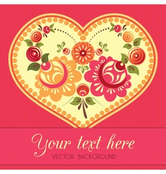Flower greeting card with heart in folk style vector image