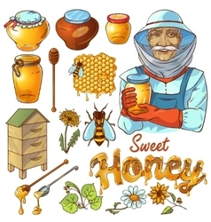 Hand Drawn Honey Icon Set vector image vector image