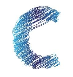 sketched letter C vector image