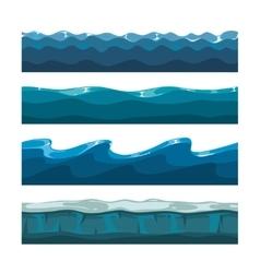 Cartoon ocean sea water waves seamless vector image vector image