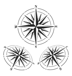 Compass roses set isolated on white vector image vector image