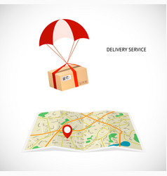 delivery service package flies by parachute to vector image