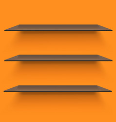empty shelves on light orange background vector image