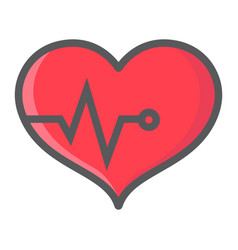 heart pulse filled outline icon fitness and sport vector image vector image