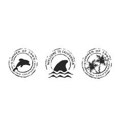 retro california beach label stamp set for summer vector image