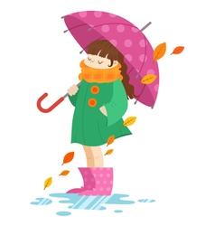 Autumn cartoon girl holding an umbrella vector image