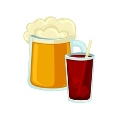 Big mug of beer with foam and glass cola straw vector image vector image