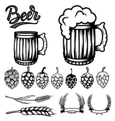 set of components for beer labels design beer vector image vector image
