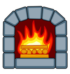 stone fireplace icon vector image vector image