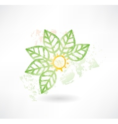 Brush icon with green leafs around vector image vector image
