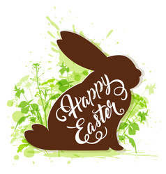 easter rabbit on a green background vector image vector image
