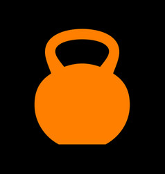 fitness dumbbell sign orange icon on black vector image