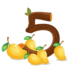 Five mangoes vector image vector image