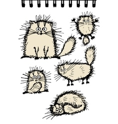 Fluffy cats collection sketch for your design vector image