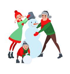 happy family making snowman hello winter vector image vector image