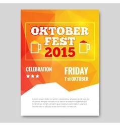 Octoberfest triangle flyer orange background party vector image vector image