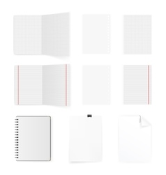 Set of blank white paper sheets and cards isolated vector image