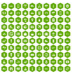 100 travel icons hexagon green vector