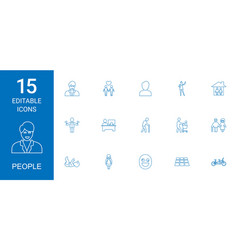 15 people icons vector image