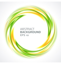 Abstract green and yellow swirl circle bright vector image