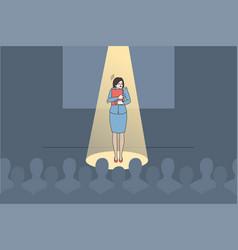 Anxious woman speaker feel scared of public vector