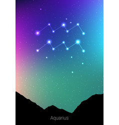 Aquarius zodiac constellations sign with forest vector
