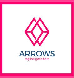 Arrow rhomb line logo vector