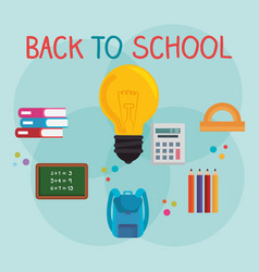 Back to school label with supplies vector