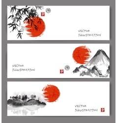Banners with red sun bamboo mountains and island vector