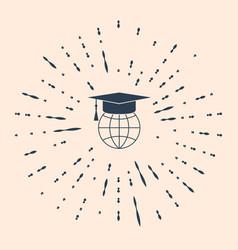 Black graduation cap on globe icon isolated on vector