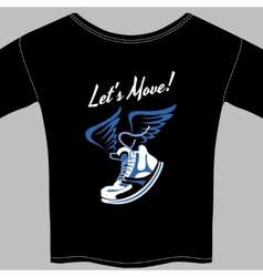Black T-shirt printed with a winged sneaker vector