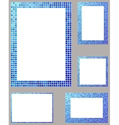 Blue pixel mosaic page border frame set vector image