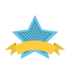blue star shield with stripes and yellow ribbon vector image