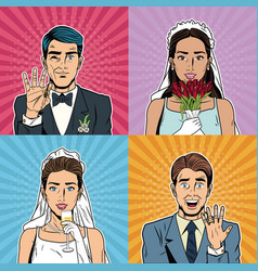 bride and groom pop art cartoon internet security vector image