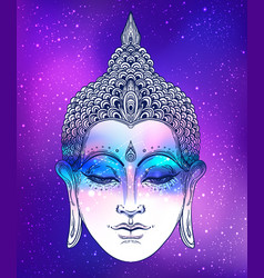 Buddha face over ostarry cosmic background vector