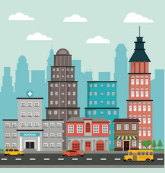 Buildings street town hospital commercial vehicle vector