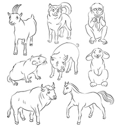 Bull dog goat horse monkey pig rabbit rat vector image