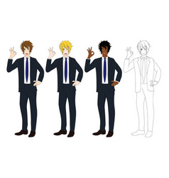 business man showing ok hand sign vector image