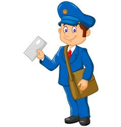 Cartoon postman holding mail and bag vector
