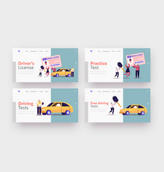 Characters get driver license landing page vector